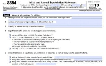 IRS Form 8854