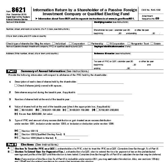PFIC Form 8621