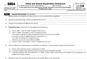 irs exit tax form 8854