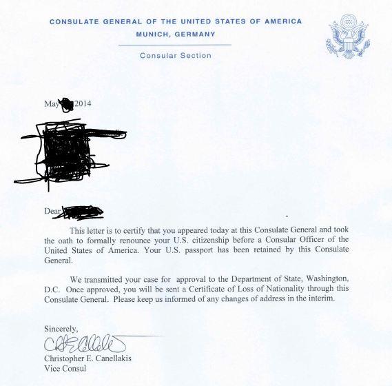 Letter Of Renunciation Citizenship Template
