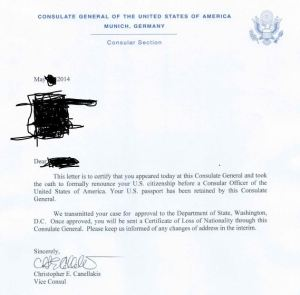 Letter of Consulate Acknoweledging Renunciation and Awaiting CLN