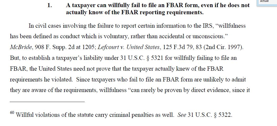 What Is The Burden Of Proof For Civil Willful Fbar Penalties