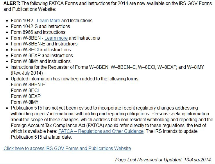 More On Fatca Driven Irs Forms Specifically Including Irs Form W