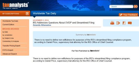 Tax Analysts - OVDI No need to Define Non-Willfulness - USD-PITI - Nov 3 - 2014