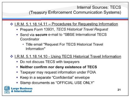 IRS Offshore Training TECs database