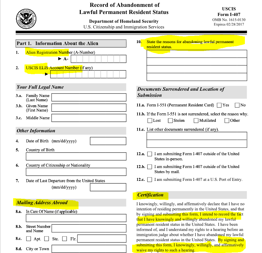 More information and more information uscis creates new form for new lpr abandonment form p1 falaconquin