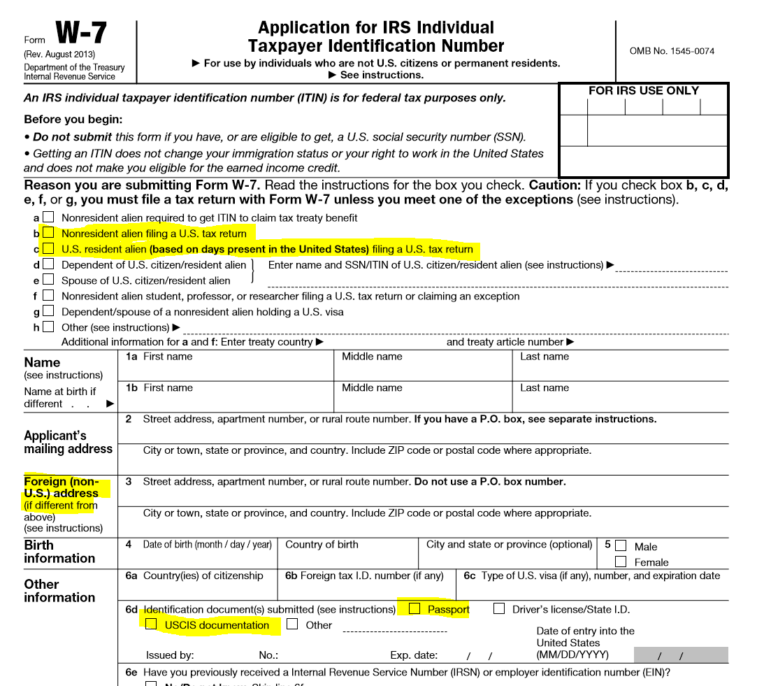 Certificate of loss of nationality tax expatriation irs form w 7 highlighted falaconquin