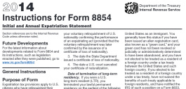 IRS instructions for IRS form 8854 - p1