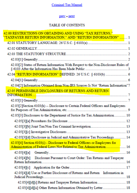 Criminal Tax Manual Taxpayer Information Disclosure